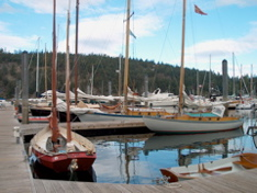 wooden boats tied to the dock at Deer Harbor